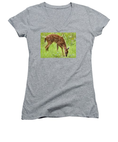 Women's V-Neck T-Shirt (Junior Cut) featuring the photograph Little Fawn Blue Wildflowers by Nava Thompson
