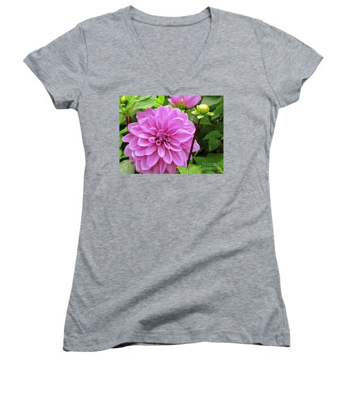 Decadent Dahlia   Women's V-Neck T-Shirt (Junior Cut) by Elizabeth Dow