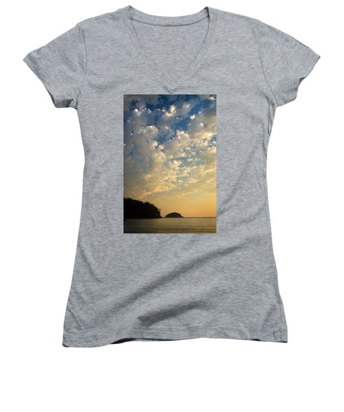 Women's V-Neck T-Shirt (Junior Cut) featuring the photograph Deception Pass by Sonya Lang