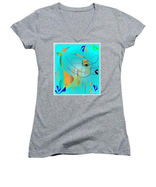 Deeep Below Women's V-Neck T-Shirt (Junior Cut) by Iris Gelbart