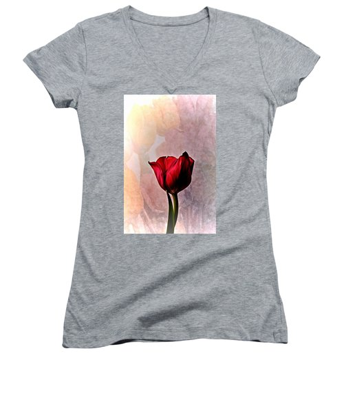 Deep Red Tulip On Pale Tulip Background Women's V-Neck