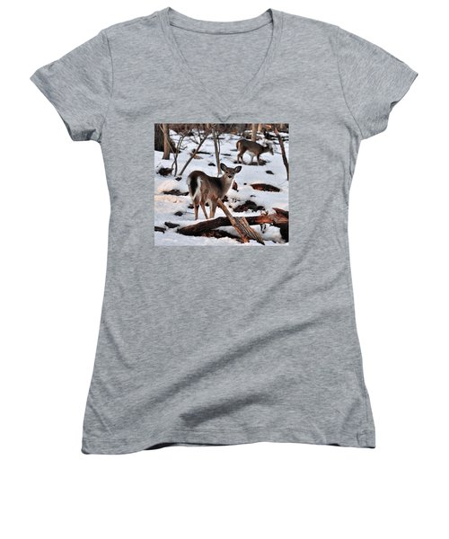 Deer And Snow Women's V-Neck (Athletic Fit)