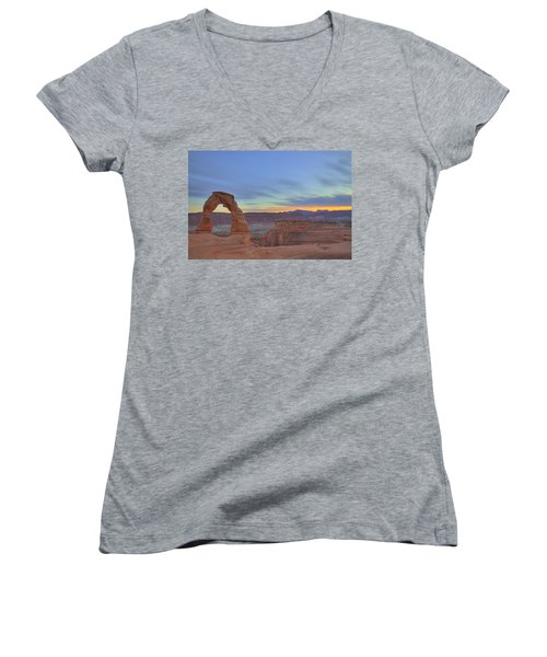 Women's V-Neck T-Shirt (Junior Cut) featuring the photograph Delicate Arch At Sunset by Alan Vance Ley