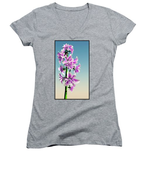 Delicate Flower... Women's V-Neck T-Shirt (Junior Cut) by Tim Fillingim