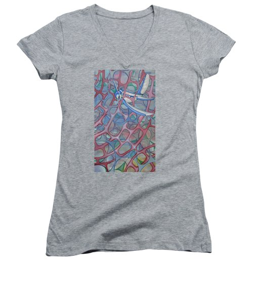 Delta In A Web Women's V-Neck T-Shirt (Junior Cut)