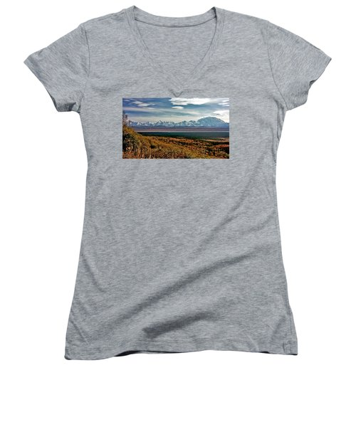 Women's V-Neck T-Shirt (Junior Cut) featuring the photograph Denali Colors by Jeremy Rhoades