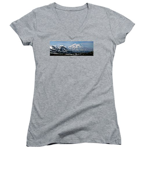 Women's V-Neck T-Shirt (Junior Cut) featuring the photograph Denali National Park Panorama by John Haldane