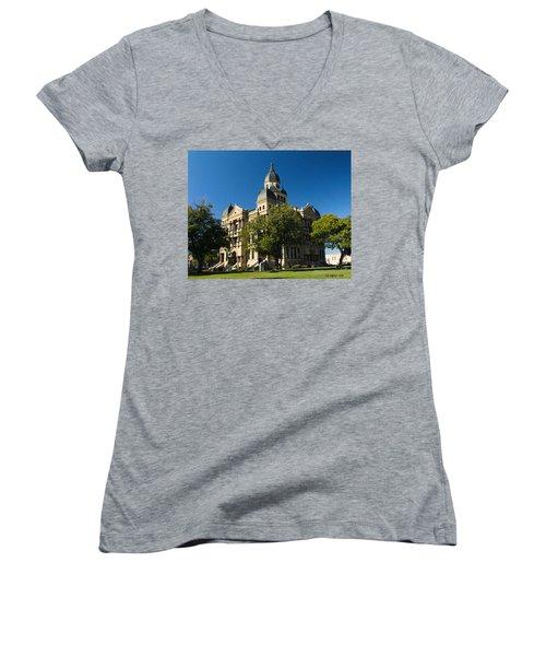 Denton County Courthouse Women's V-Neck T-Shirt (Junior Cut) by Allen Sheffield