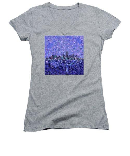 Denver Skyline Abstract 4 Women's V-Neck T-Shirt