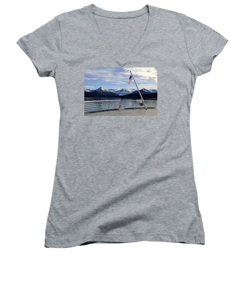 Women's V-Neck T-Shirt (Junior Cut) featuring the photograph Departing Auke Bay by Cathy Mahnke