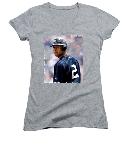 Derek Jeter  Women's V-Neck T-Shirt (Junior Cut) by Iconic Images Art Gallery David Pucciarelli