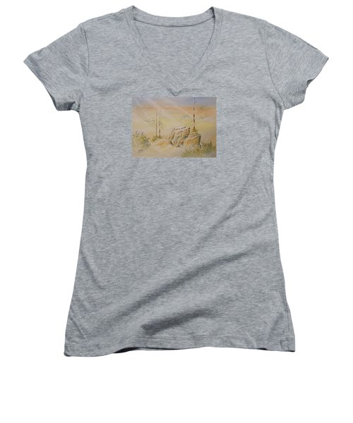 Women's V-Neck T-Shirt (Junior Cut) featuring the painting Deschutes Canyon by Richard Faulkner