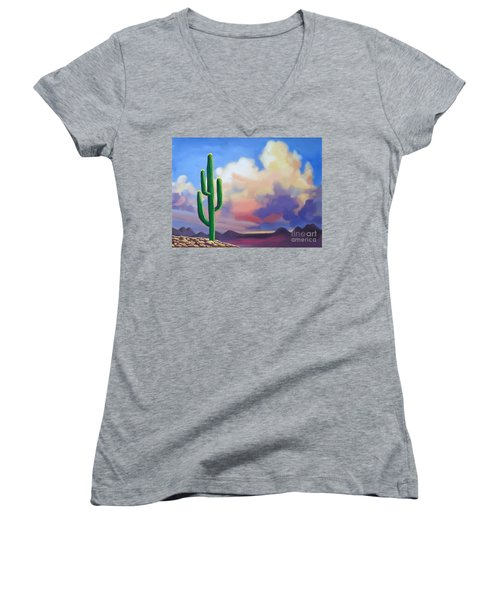 Women's V-Neck T-Shirt (Junior Cut) featuring the painting Desert Cactus At Sunset by Tim Gilliland