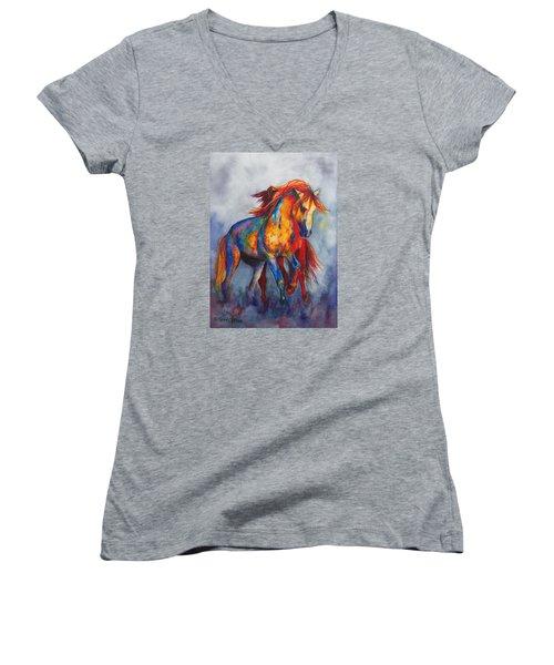 Women's V-Neck T-Shirt (Junior Cut) featuring the painting Desert Dance by Karen Kennedy Chatham