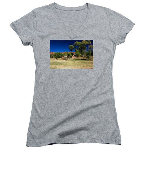 Desert Field Women's V-Neck T-Shirt (Junior Cut) by Dave Files