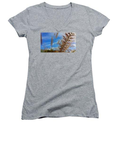 Desert Foliage Women's V-Neck T-Shirt (Junior Cut) by Chris Tarpening