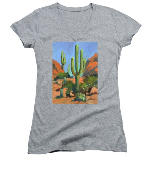 Desert Morning Saguaro Women's V-Neck