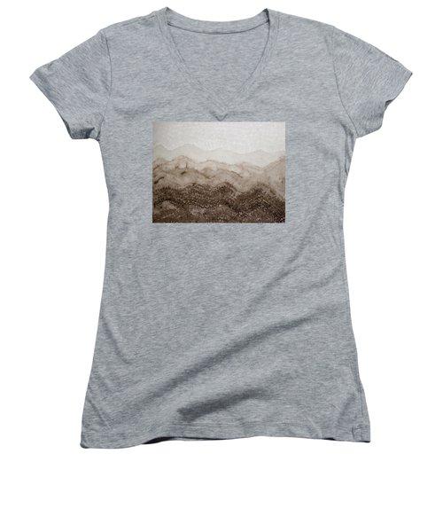 Desert Mountain Mist Original Painting Women's V-Neck