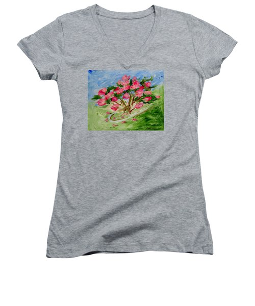 Desert Rose Abstract Women's V-Neck T-Shirt