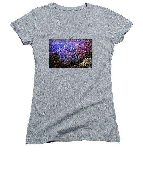 Desert View Sunset Women's V-Neck T-Shirt (Junior Cut) by Priscilla Burgers