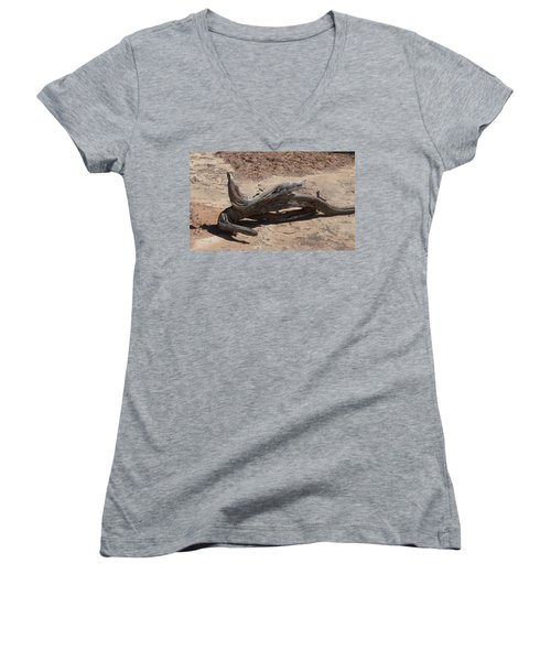 Women's V-Neck T-Shirt (Junior Cut) featuring the photograph Desert Wildwood by Fortunate Findings Shirley Dickerson