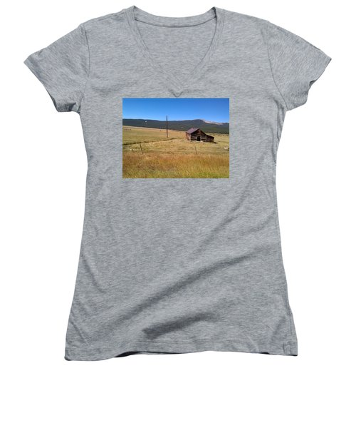 Women's V-Neck T-Shirt (Junior Cut) featuring the photograph Deserted Cabin by Fortunate Findings Shirley Dickerson