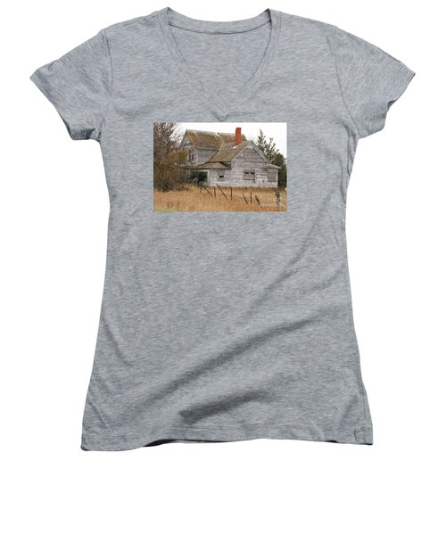 Women's V-Neck T-Shirt (Junior Cut) featuring the photograph Deserted House by Mary Carol Story
