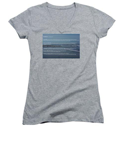 Desiderata  Women's V-Neck T-Shirt (Junior Cut) by Tikvah\'s Hope