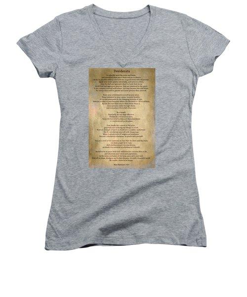 Desiderata - Scrubbed Metal Women's V-Neck T-Shirt