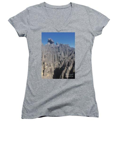detail of the Tsingy de Bemaraha Madagascar Women's V-Neck T-Shirt (Junior Cut) by Rudi Prott