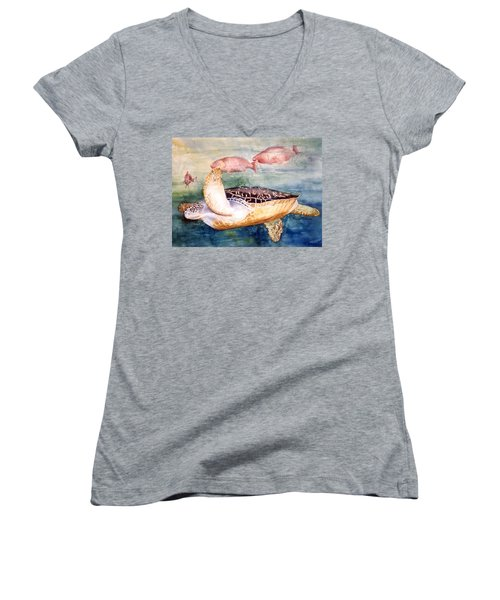Determined - Loggerhead Sea Turtle Women's V-Neck T-Shirt