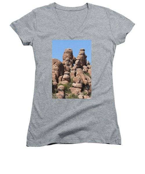 Women's V-Neck T-Shirt (Junior Cut) featuring the photograph Devils Canyon Wall by Tom Janca