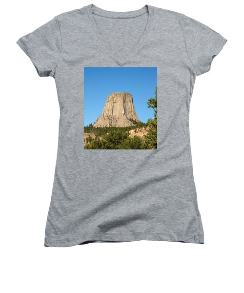 Women's V-Neck T-Shirt (Junior Cut) featuring the photograph Devils Tower by John M Bailey
