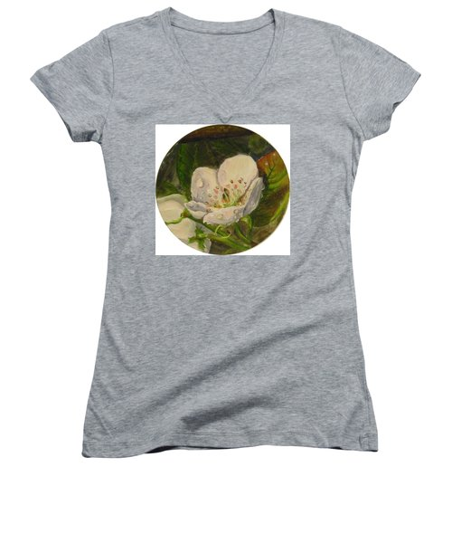Dew Of Pear's Blooms Women's V-Neck