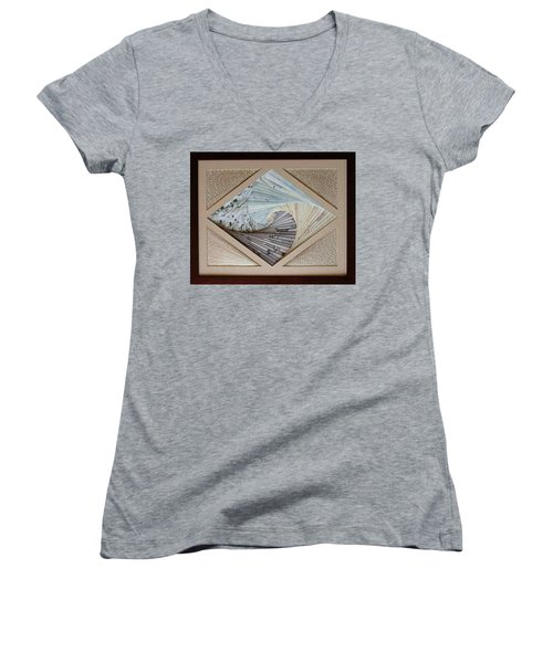 Women's V-Neck T-Shirt (Junior Cut) featuring the mixed media Diamonds Are Forever by Ron Davidson