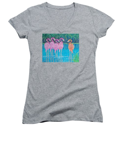 Women's V-Neck T-Shirt (Junior Cut) featuring the painting Different But Alike by Susan DeLain