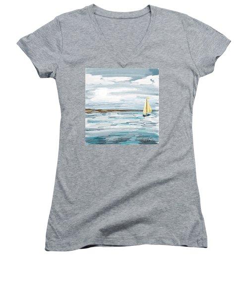 Digital Seascape In Blue Women's V-Neck T-Shirt