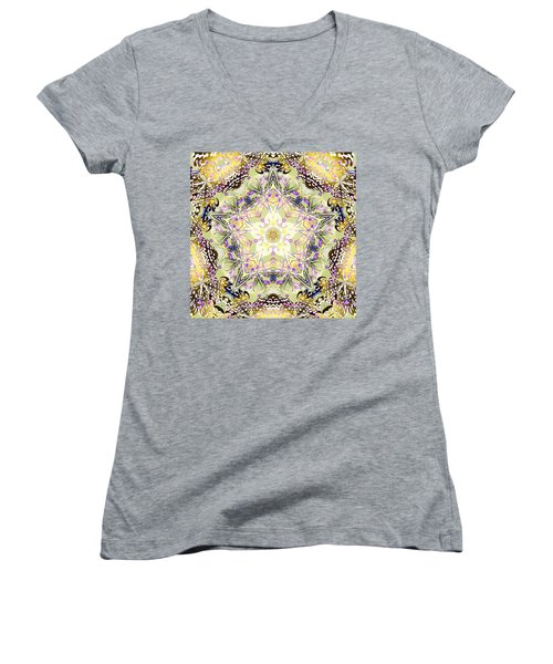 Digmandala Simha Women's V-Neck T-Shirt (Junior Cut) by Derek Gedney