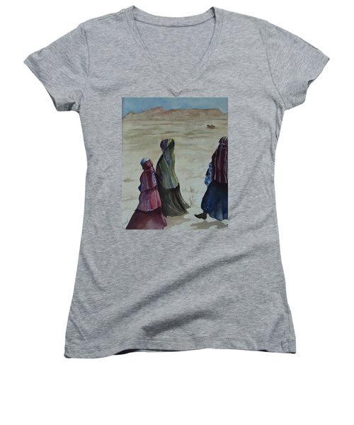 Dineh Leaving The Trading Post Women's V-Neck T-Shirt