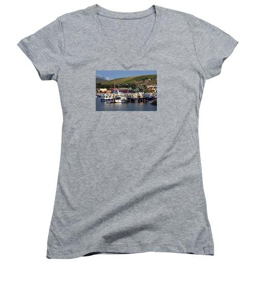 Dingle Harbour County Kerry Ireland Women's V-Neck T-Shirt (Junior Cut) by Aidan Moran