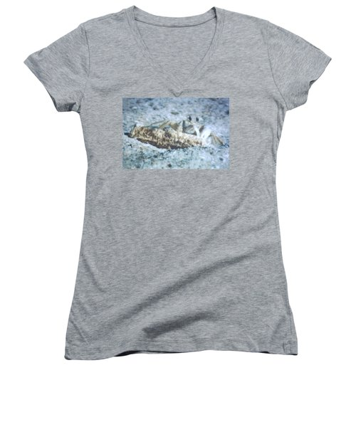 Women's V-Neck T-Shirt (Junior Cut) featuring the photograph Beach Crab Snacking by Belinda Lee