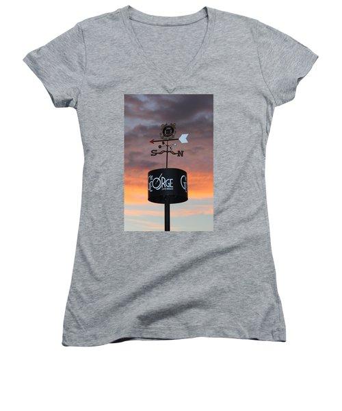 Women's V-Neck T-Shirt (Junior Cut) featuring the photograph Direction by Cynthia Guinn