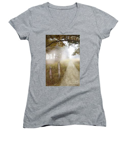Dirt Road In Fog Women's V-Neck (Athletic Fit)