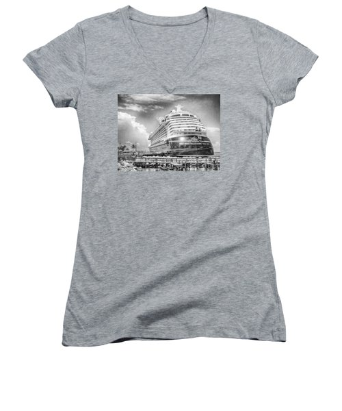 Women's V-Neck featuring the photograph Disney Fantasy by Howard Salmon