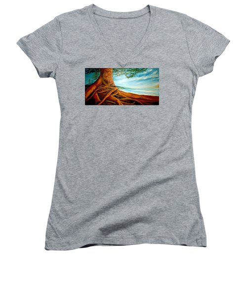 Women's V-Neck T-Shirt (Junior Cut) featuring the painting Distant Shores Rejoice by Meaghan Troup