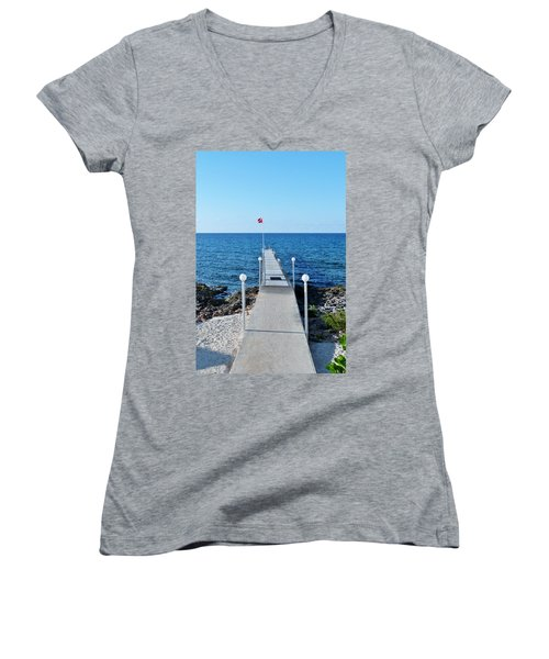 Women's V-Neck T-Shirt (Junior Cut) featuring the photograph Divers Down by Amar Sheow