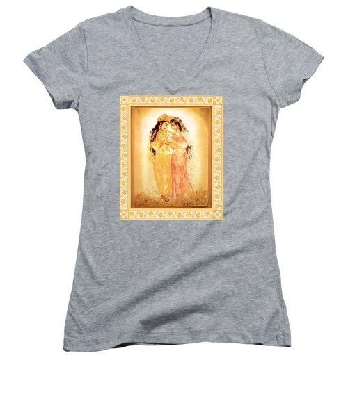 Divine Love Women's V-Neck T-Shirt (Junior Cut) by Ananda Vdovic