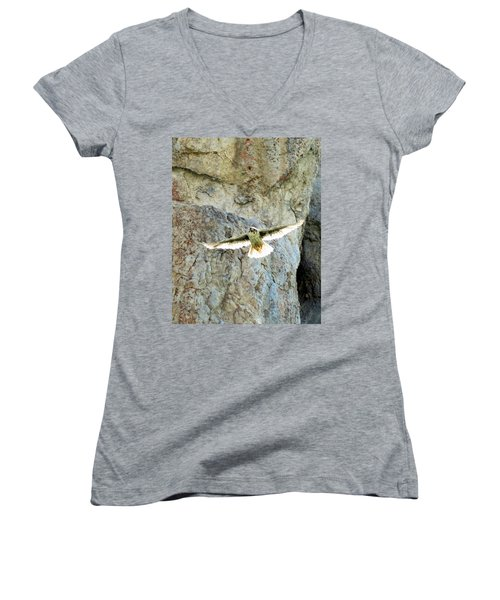 Diving Falcon Women's V-Neck (Athletic Fit)
