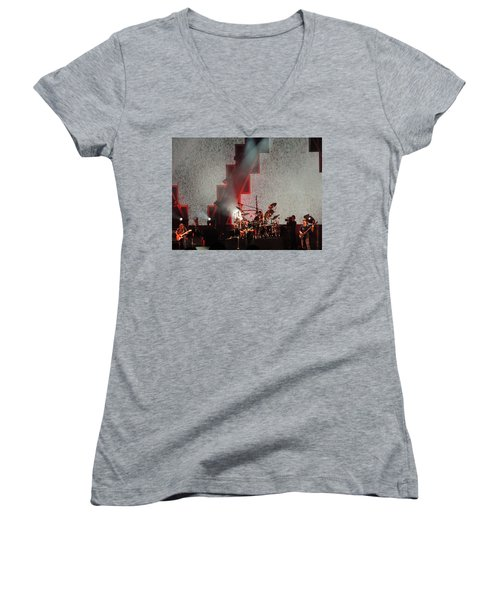 Women's V-Neck T-Shirt (Junior Cut) featuring the photograph Dmb Members by Aaron Martens