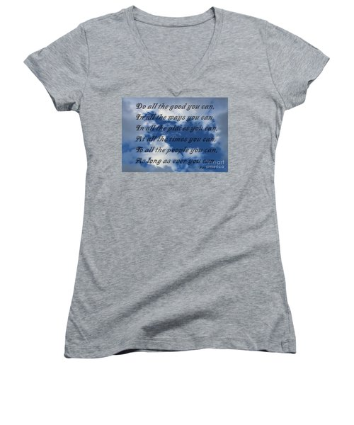 Do All The Good You Can Women's V-Neck (Athletic Fit)